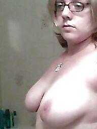 Glasses, Topless, Big amateur tits, Glass