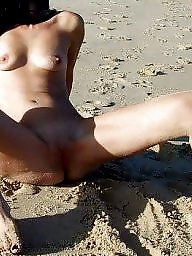 Beach, Brunette milf, Beach milf