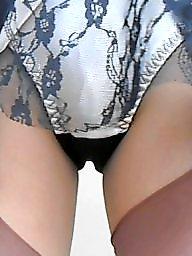 Upskirt stockings, Tanned