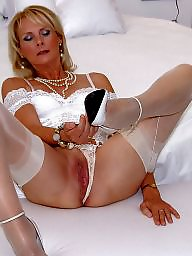 Satin, Mature facial, Stocking, Night, Facial mature
