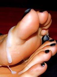 Sperm, Feet, Stockings, Footjob, Teen feet, Stocking feet
