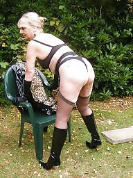 Mature, Pvc, Outdoor, Granny stockings, Hot granny, Mature bdsm