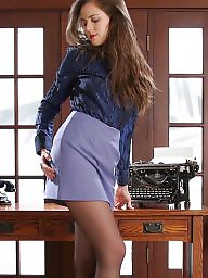 Office, Nylons, Nylon upskirt, Strip, Upskirt stockings, Ladies