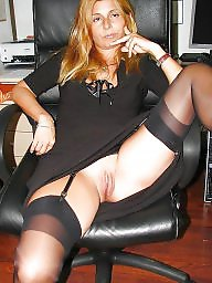 Nylons, Mature nylon, Wide, Open, Wide open, Nylon mature