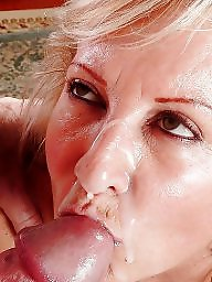 Granny, Facial, Granny blowjob, Mature facial, Mature blowjob, Facials