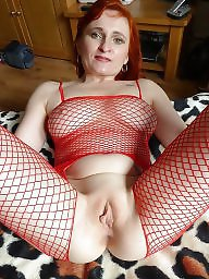 Stockings, Hair, Fishnet, Red hair, Red mature, Big matures