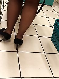 Candid, Hidden, Black stocking, Milf stocking, Cam