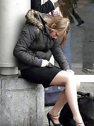Upskirt, Nylon, Stockings, Upskirt stockings, Street, Nylon stockings