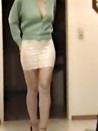 Skirt, Lace, Tights, Slutty, White, Voyeur tits