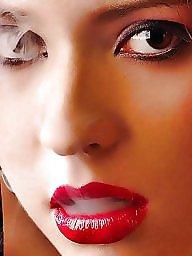 Smoking, Redhead, Lipstick, Blond