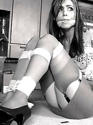 Bound, Lips, Women, Sexy stockings
