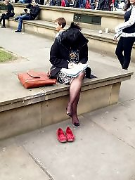 Pantyhose, Feet, Candid, Red, Flat, Tight