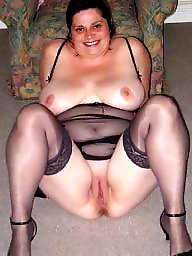 Spreading, Spread, Shaved, Bbw stockings, Bbw spread, Bbw stocking