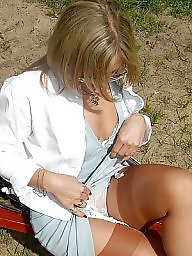 Open, Upskirt stockings, Out, Lady stockings