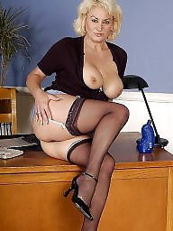 Secretary, Fingering, Stockings mature, Finger, Mature fingering