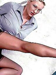 Glasses, Upskirt stockings, Lady stockings