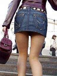 Street, Upskirt stockings, Nylon stockings, Amateur stockings