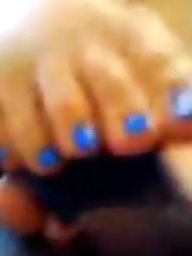 Foot, Blue, Job, Foot job, Interracial amateur, Ebony interracial