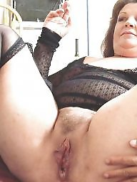 Spreading, Spread, Shaved, Bbw stockings, Bbw spreading, Shaving