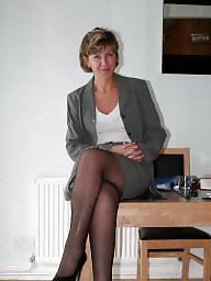 Office, Uk mature, Stocking, Mature office, Mature uk