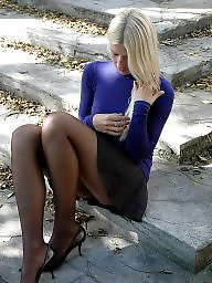 Upskirt, Nylon, Upskirt stockings, Street, Nylon stockings