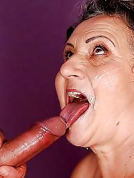 Granny, Grannies, Granny blowjob, Facial, Mature facial, Mature blowjob
