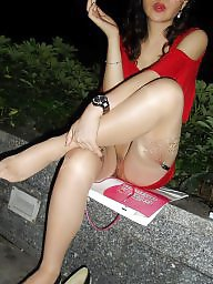 Chinese, Pussy, Asian pussy, Flashing stockings, Asian stockings