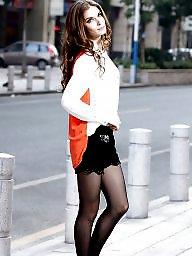 Upskirt, Nylon, Upskirt stockings, Street, Nylon stockings