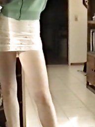 Skirt, Lace, Slutty, Tights, Voyeur tits, Tight skirt