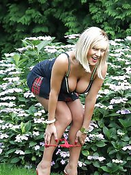 Upskirt, Milf upskirt, Garden, Sexy milf, Blonde, Milf upskirts