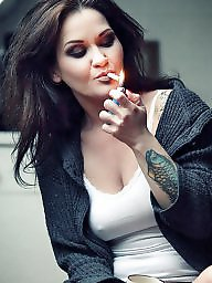 Smoking, Smoke, Teen stockings, Tit