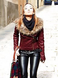 Leather, Boots, Milf in leather, Milf and teen