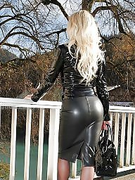 Leather, Skirt, Tights, Tight, Tight skirt, Babes