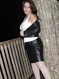 Leather, Skirt, Milf upskirt, Leather skirt