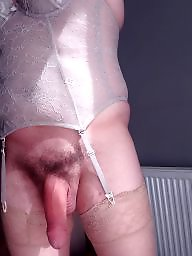Dildo, Stockings, Big cock, Hairy panties, Hairy stockings, Anal dildo