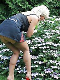 Garden, Blonde milf, Milf upskirt