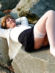 Stockings, Mature beach, Uk mature, Stockings mature, Beach mature