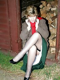 Outdoor, Stockings, Uk mature, Mature outdoor, Mature outdoors, Outdoor matures