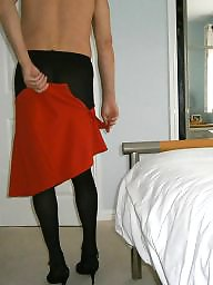 Upskirt, Skirt, Mini skirt, Tights, Red, Tight