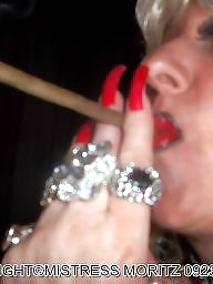 Smoking, Blonde milf, Smoke, Nails, Femdom milf