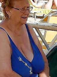 Granny, Granny beach, Beach, Busty granny, Big granny, Granny boobs