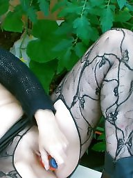 Milf stockings, Garden, Stocking fucking