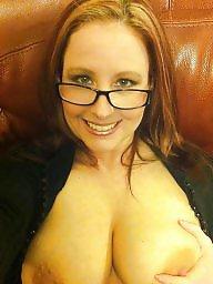 Big tits, Glasses, Topless, Glass, Amateur big tits