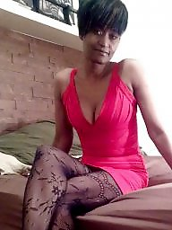 Ebony, Dress, Dressing, Ebony stockings, Red, Black wife