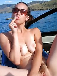 Smoking, Smoking mature, Smoke, Voyeur mature, Mature smoking, Boob
