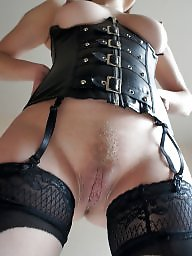 Leather, Milf pussy, Stockings pussy