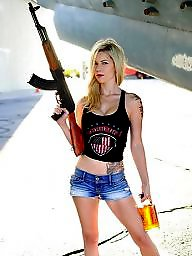 Girls, Public nudity, Guns