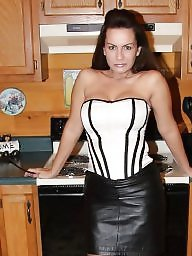 Leather, Skirt, Leather skirt, Skirts, Milf upskirt, Upskirt milf