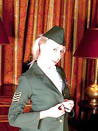 Uniform, Stocking, Sitting, Military, Hairy blonde, Chair
