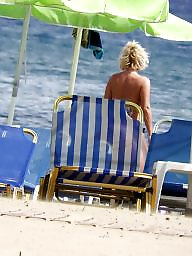 Caught, Topless, Blonde milf, Beach milf